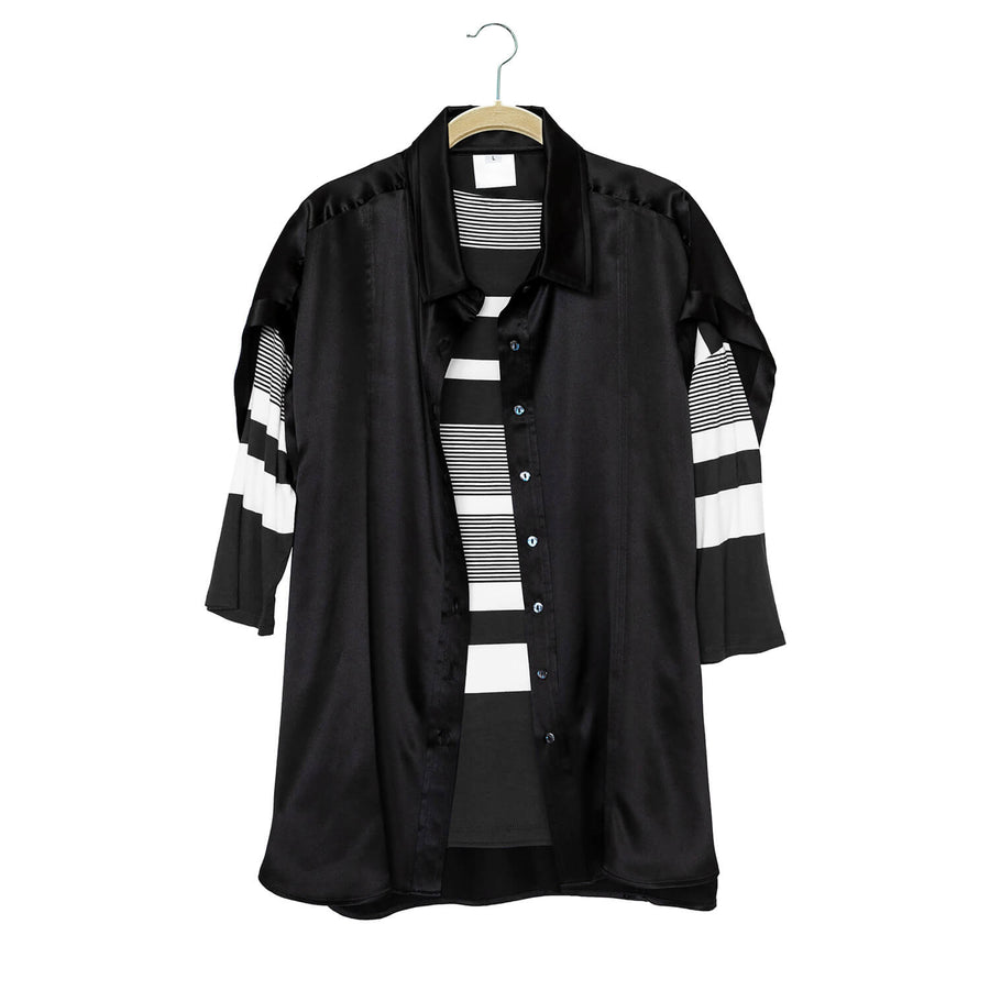 ebony black silk shirt with black & white striped top by seahorse silks