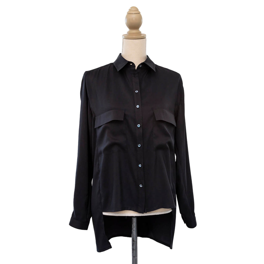 ebony black manhatten shirt front by seahorse silks