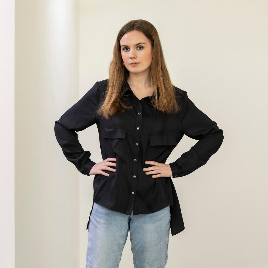 ebony black manhatten shirt with jean by seahorse silks