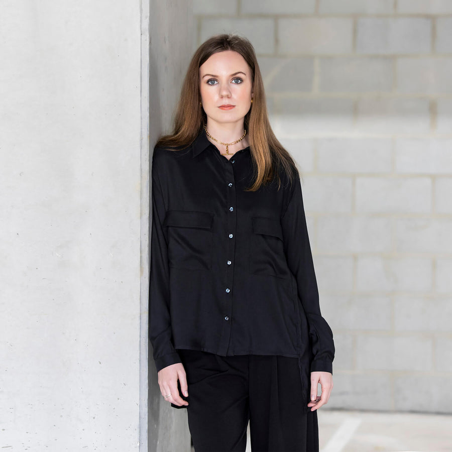 ebony manhatten shirt with wide black pants by seahorse silks