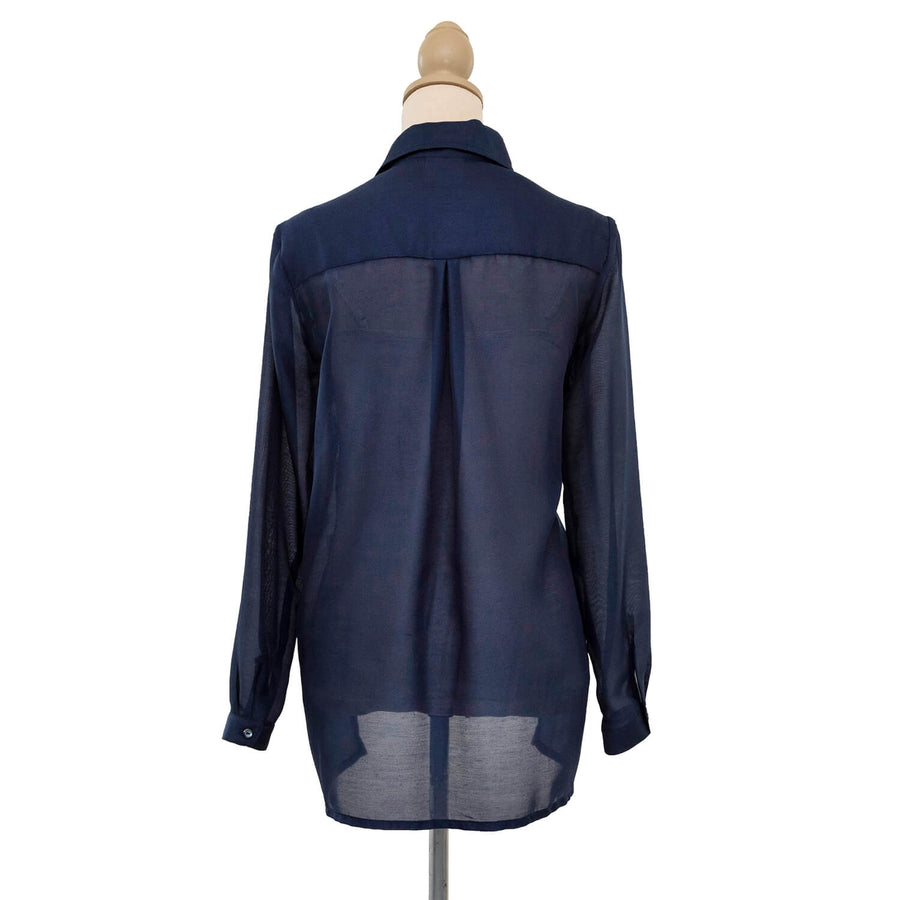 french navy sheer manhatten shirt back by seahorse silks