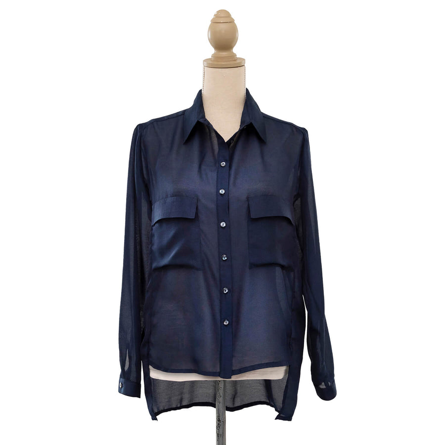 french navy sheer manhatten shirt front by seahorse silks
