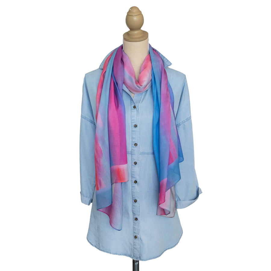 g & t time pink & blue scarf with chambray shirt by seahorse silks