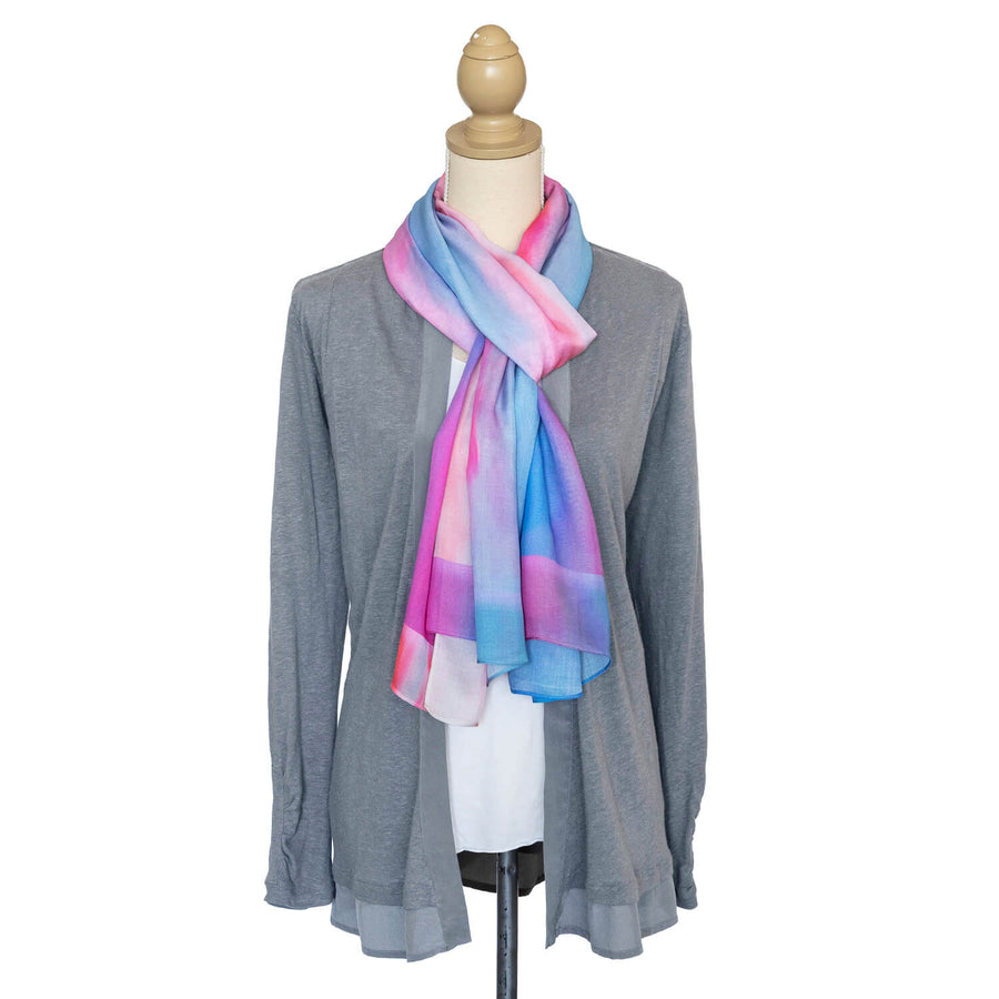 g & t time pink & blue scarf with grey jacket by seahorse silks
