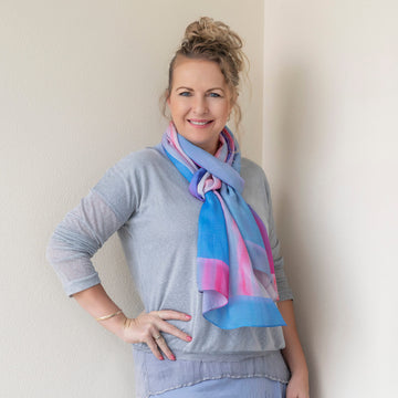 g & t time pink & blue scarf with grey top by seahorse silks