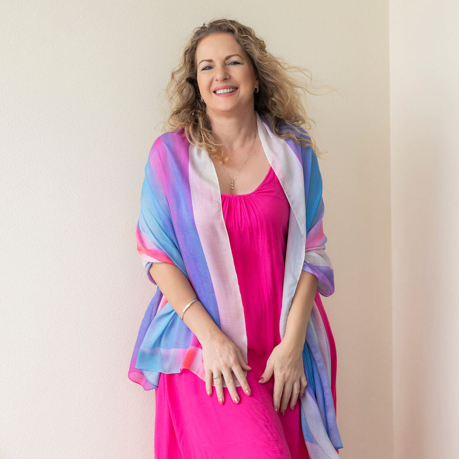 g & t time pink & blue scarf shawl with pink dress by seahorse silks