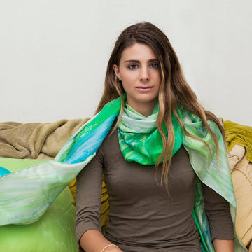 glass wave long silk scarf with khaki top by seahorse silks