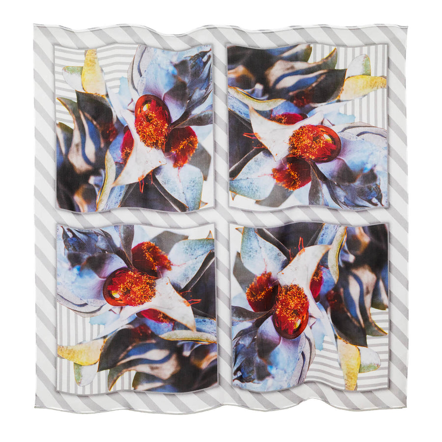 macrocarpa square silk scarf flat showing pattern by seahorse silks