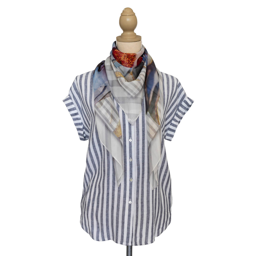 macrocarpa square silk scarf with striped shirt by seahorse silks