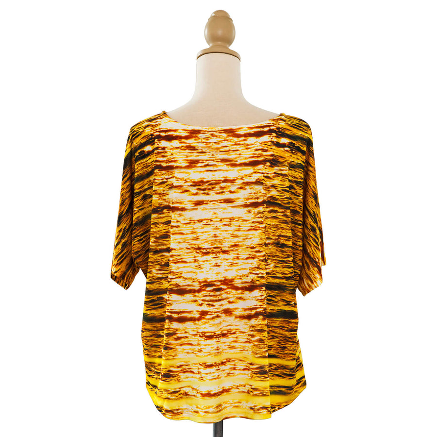 Midas touch gold silk jersey top back seahorse silks