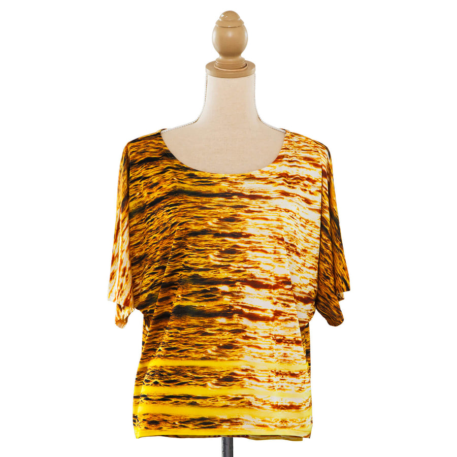 Midas touch gold silk jersey top front seahorse silks