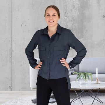midnight manhatten long sleeve shirt with black pants by seahorse silks