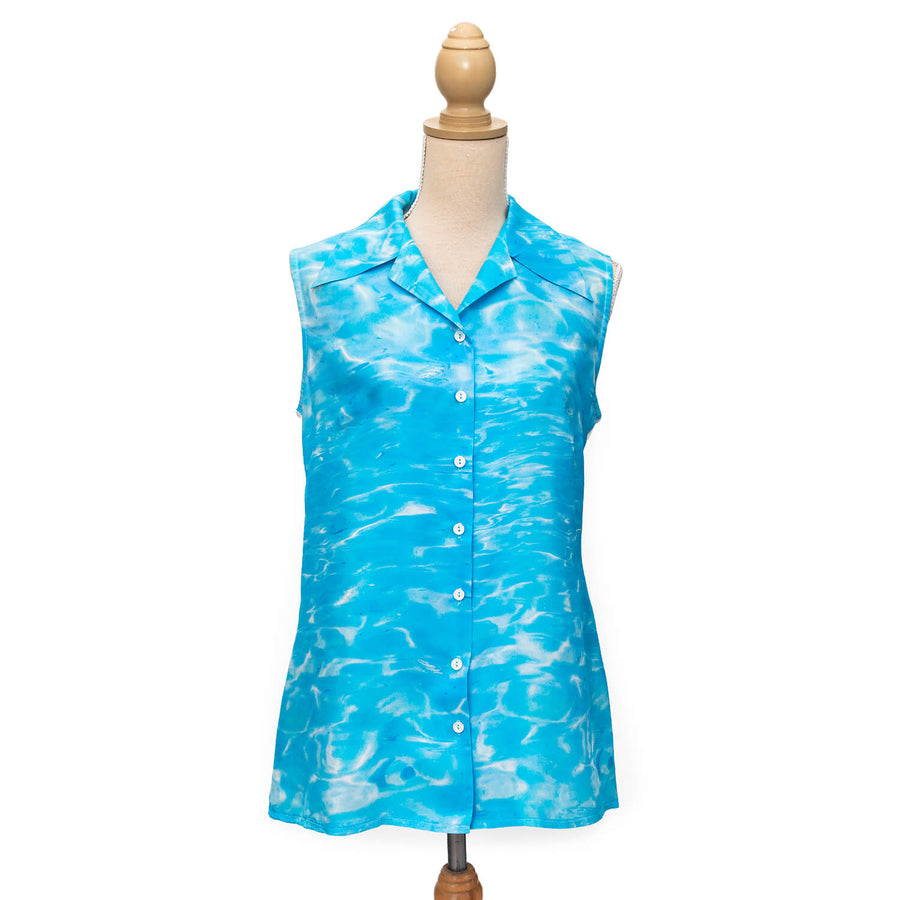 front ningaloo sleeveless silk shirt by seahorse silks