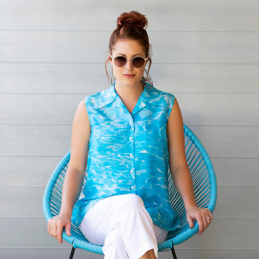 ningaloo aqua blue sleeveless shirt by seahorse silks