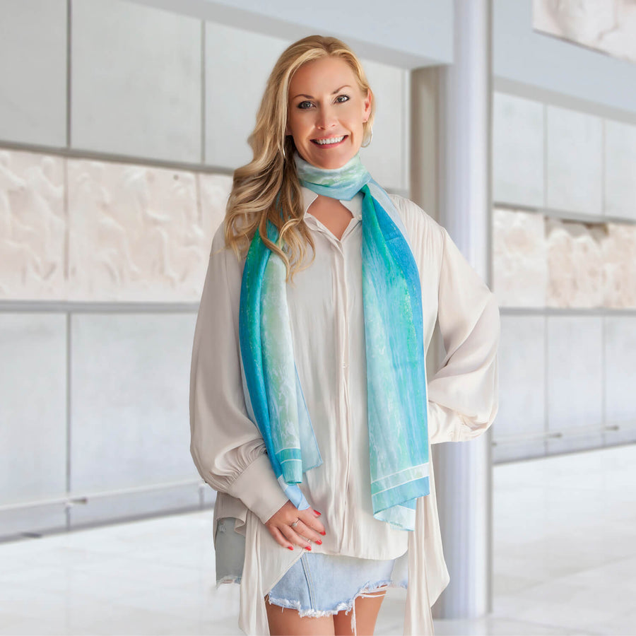 pastels silk scarf with cream blouse by seahorse silks