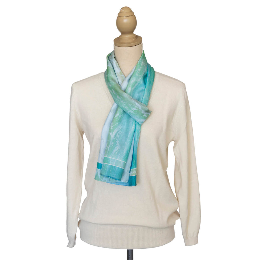 pastels silk scarf with cream jumper by seahorse silks