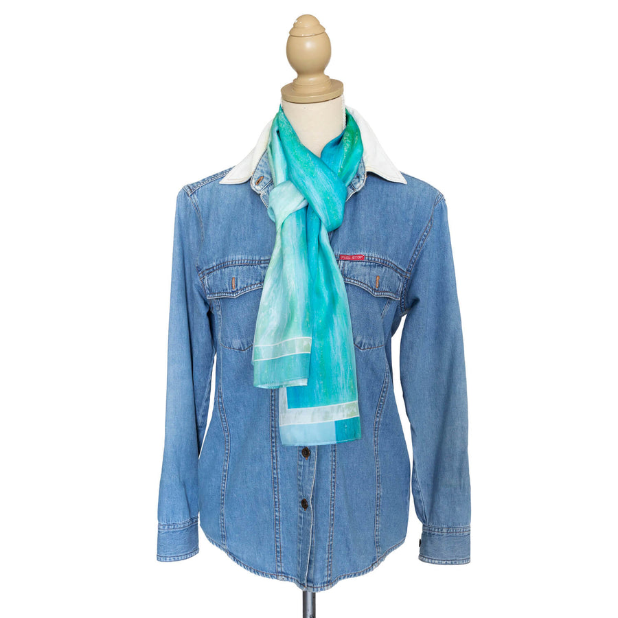 pastels silk scarf with denim shirt by seahorse silks