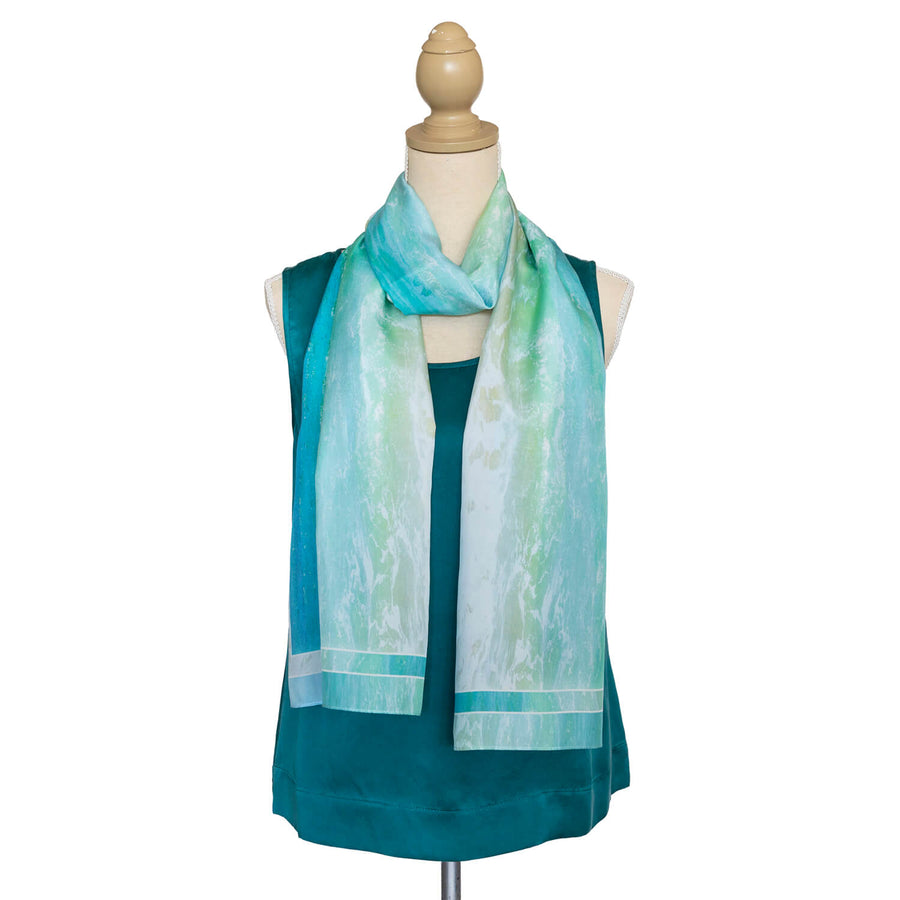 pastels silk scarf with teal top by seahorse silks