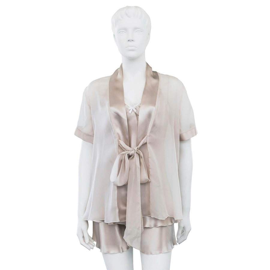 platinum 3 piece silk pyjama set by seahorse silks