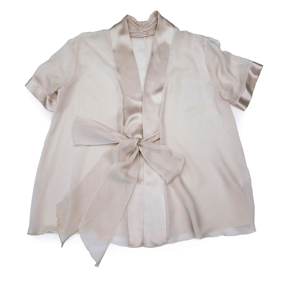 jacket of platinum 3 piece pyjama set by seahorse silks