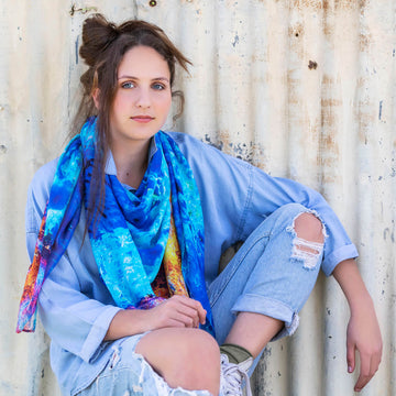 reef edge square scarf with denim by seahorse silks