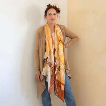 stone wall scarf with tan jacket by seahorse silks