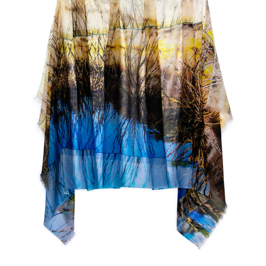 the design of the dam cashmere wool scarf by seahorse silks