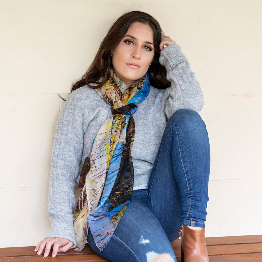 the dam cashmere wool scarf by seahorse silks with grey jumper