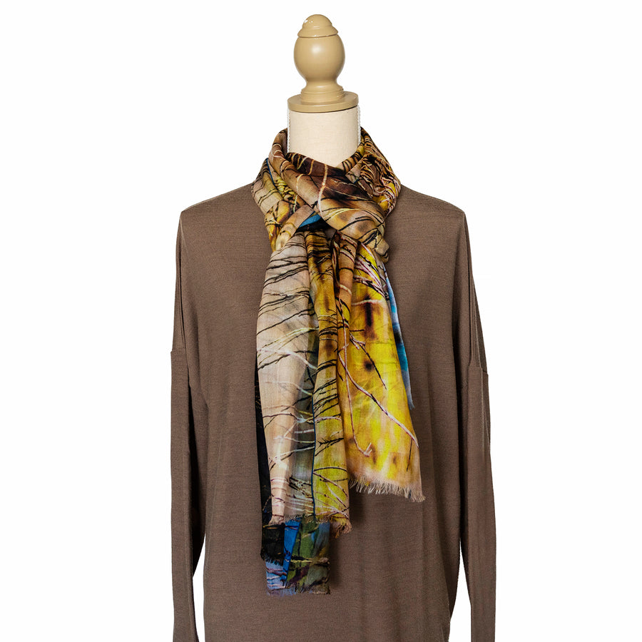 the dam cashmere wool scarf with brown jumper by seahorse silks