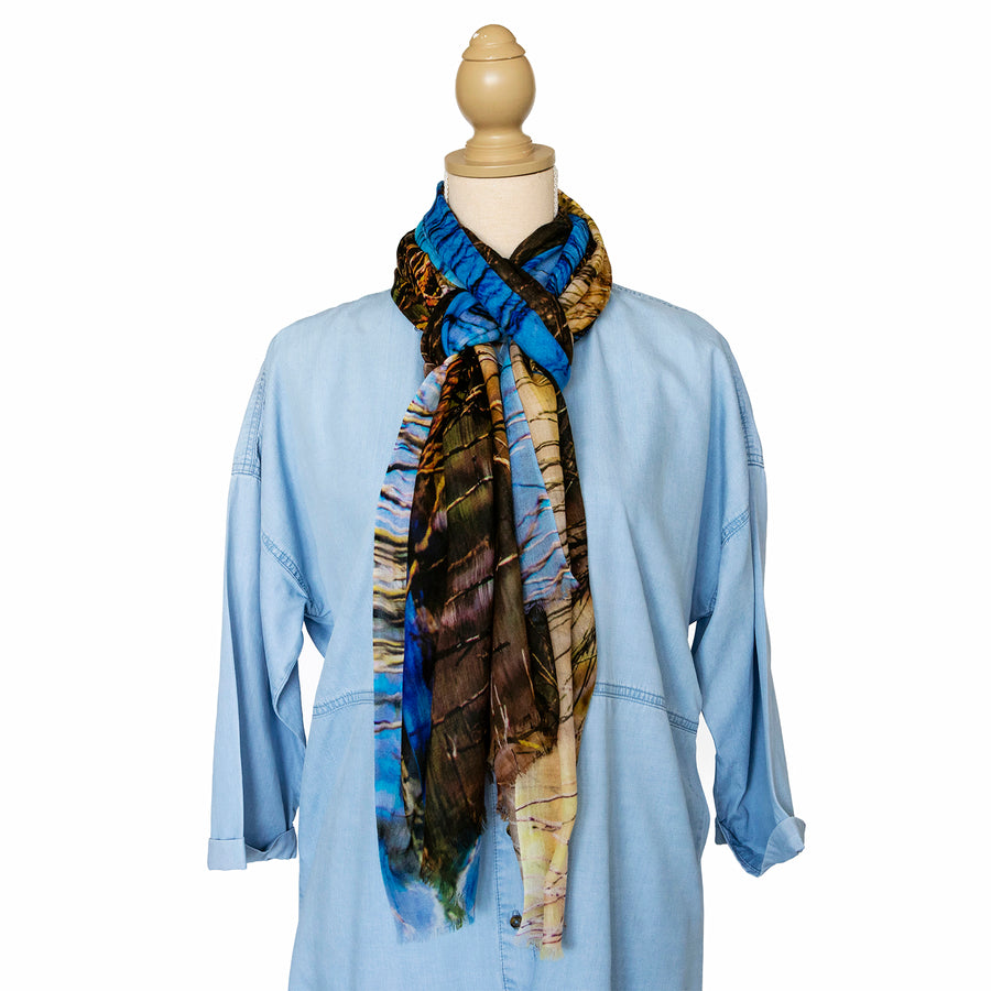 the dam cashmere wool scarf by seahorse silks with chambray shirt