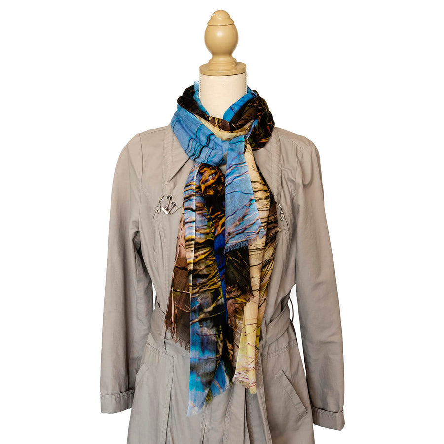 the dam cashmere wool scarf by seahorse silks with trench coat