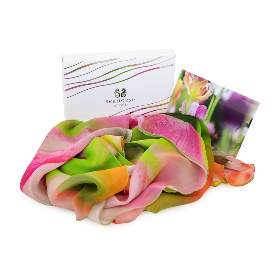 gift boxed tulips scoop silk scarf by seahorse silks