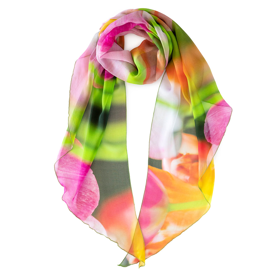 tulips silk scarf showing scoop ends by seahorse silks
