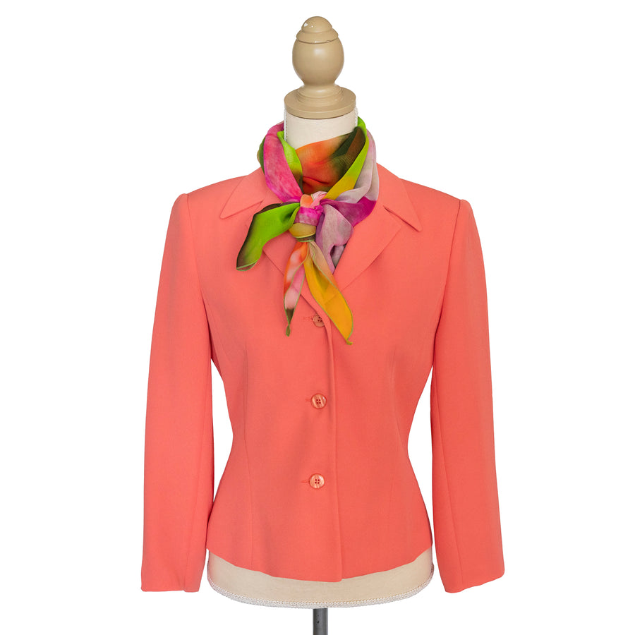 tulips silk scarf with coral business jacket by seahorse silks