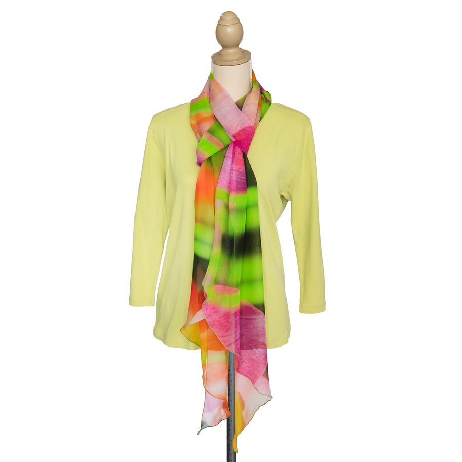 tulips silk scarf with lime green top by seahorse silks