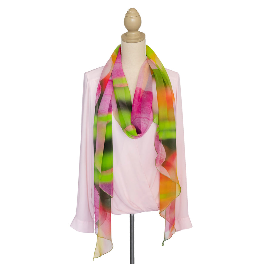 tulips scoop silk scarf with soft pink top by seahorse silks