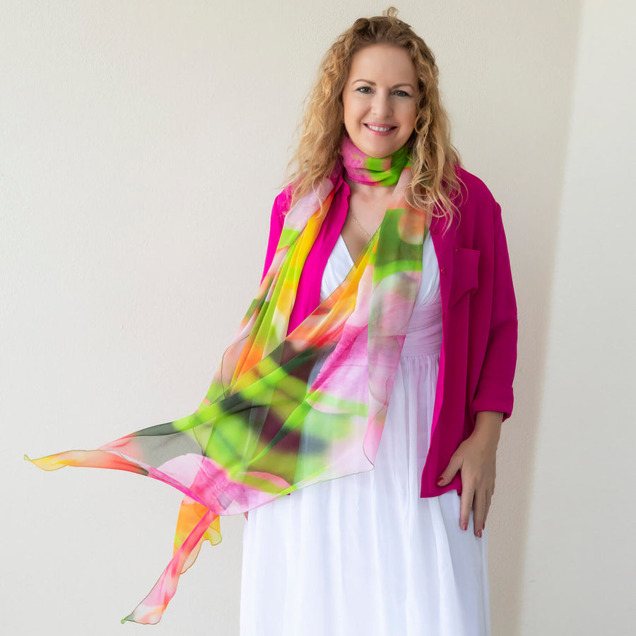 tulips silk scarf with white dress & hot pink jacket by seahorse silks