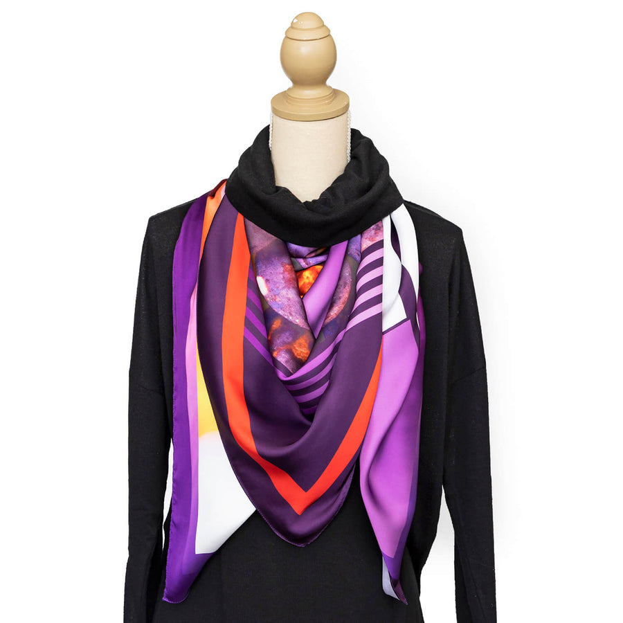vino square scarf with black polo by seahorse silks