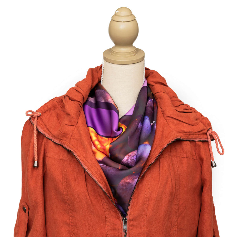 vino square scarf with terracotta jacket by seahorse silks