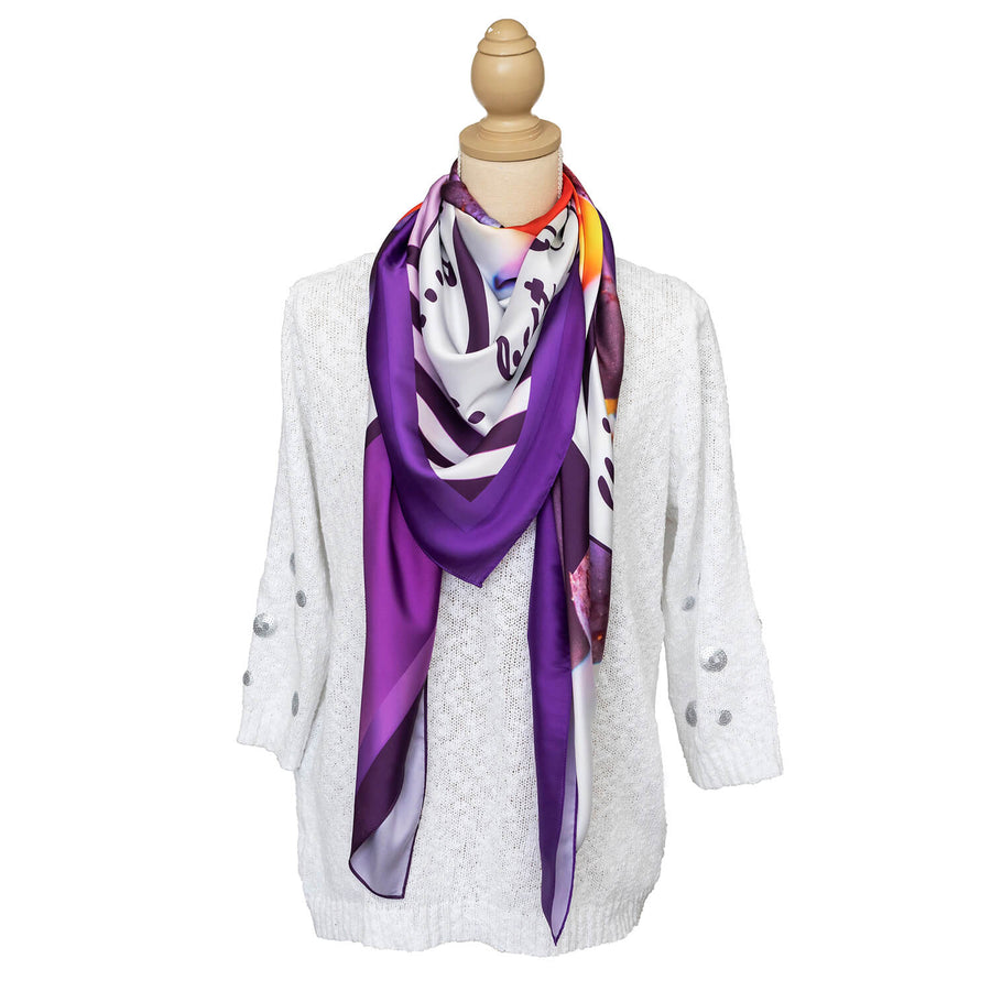 vino square scarf with white jumper by seahorse silks