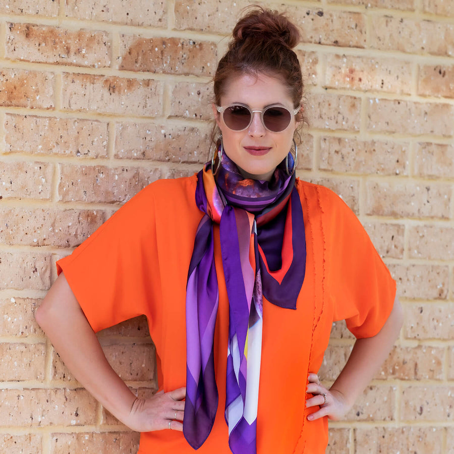 vino large square scarf by seahorse silks with coral top