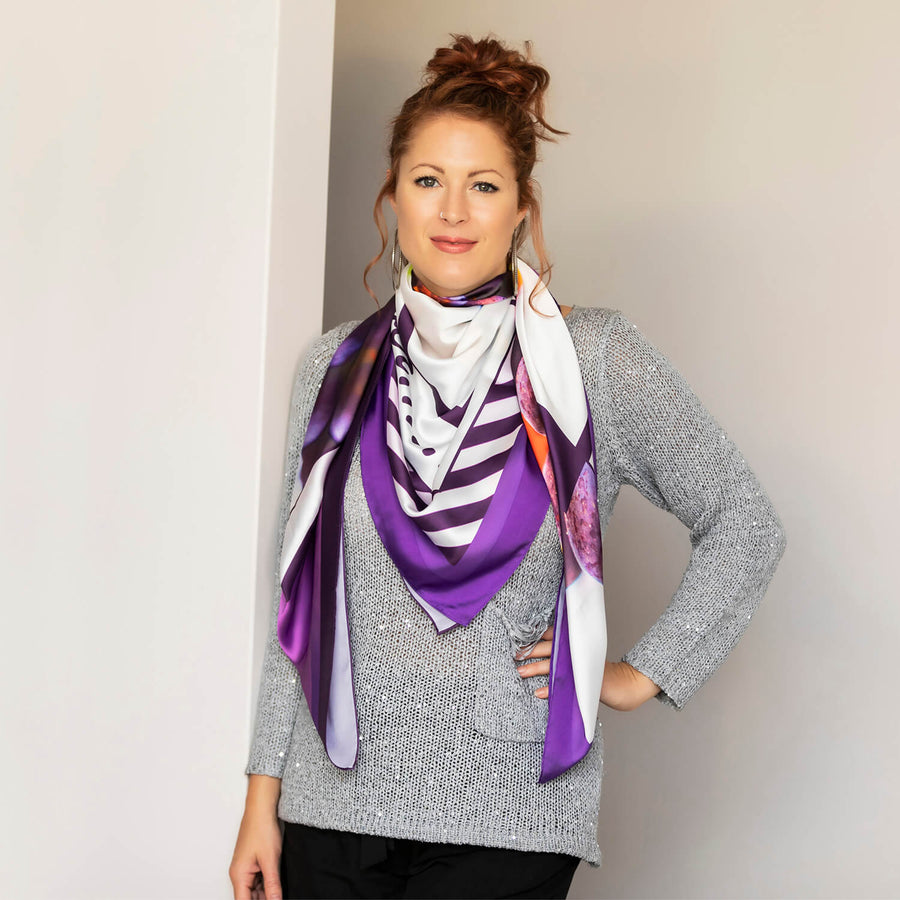 vino large square scarf by seahorse silks with silver jumper