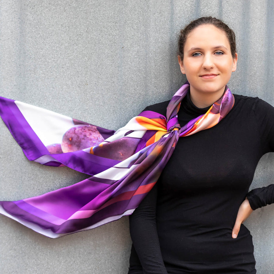 vino large square scarf by seahorse silks with black top