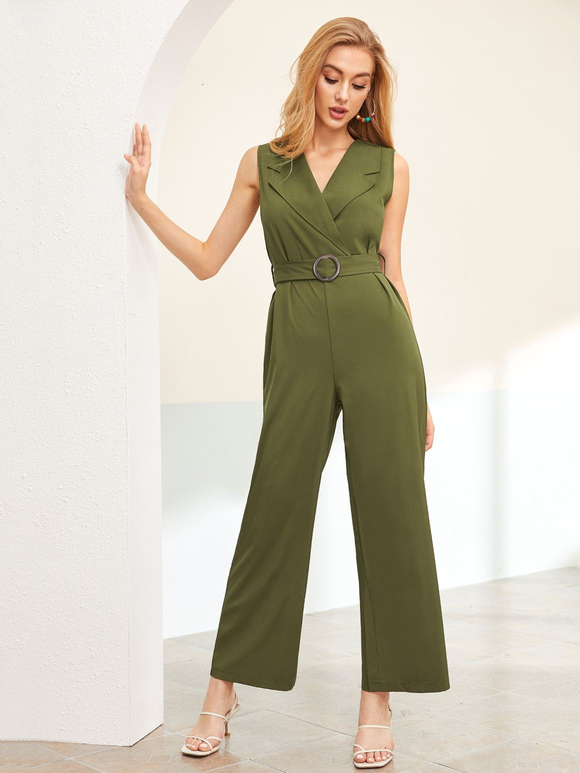 Notched Collar Belted Wide Leg Jumpsuit