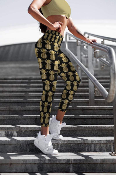 Golden Pineapples leggings, Capris and Shorts - The Foxtrot Clothing