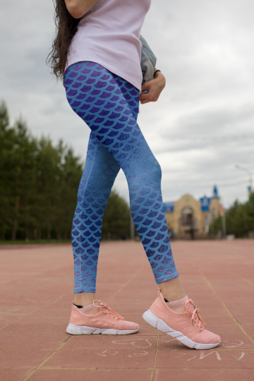 Tatiana Blue Mermaid leggings, Capris and Shorts - The Foxtrot Clothing