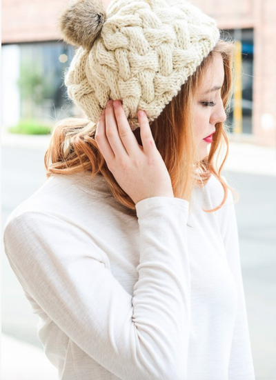 Beautifully Knit Ivory Beret - The Foxtrot Clothing