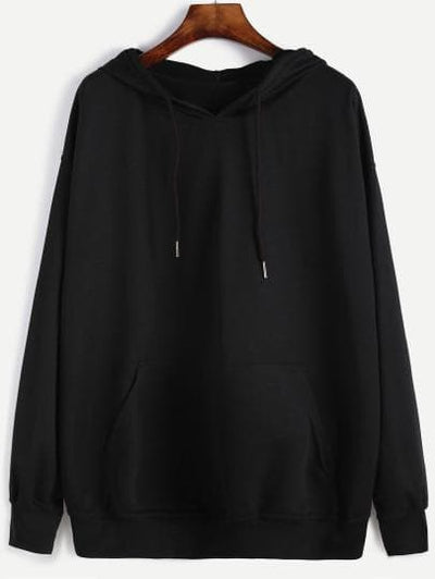 Black Hooded Drawstring Sweatshirt - The Foxtrot Clothing