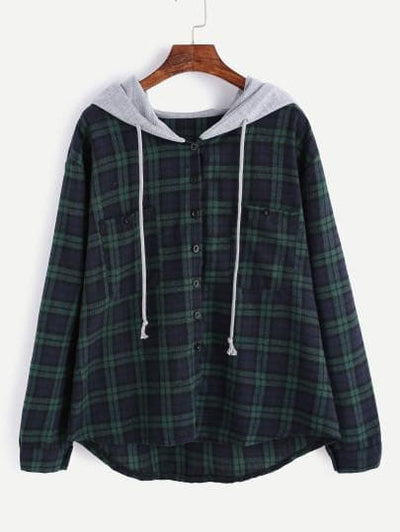 Plaid Button Pocket Sweatshirt With Contrast Hood - The Foxtrot Clothing