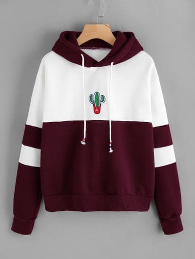 Color Block Cactus Embroidered Hoodie - The Foxtrot Clothing
